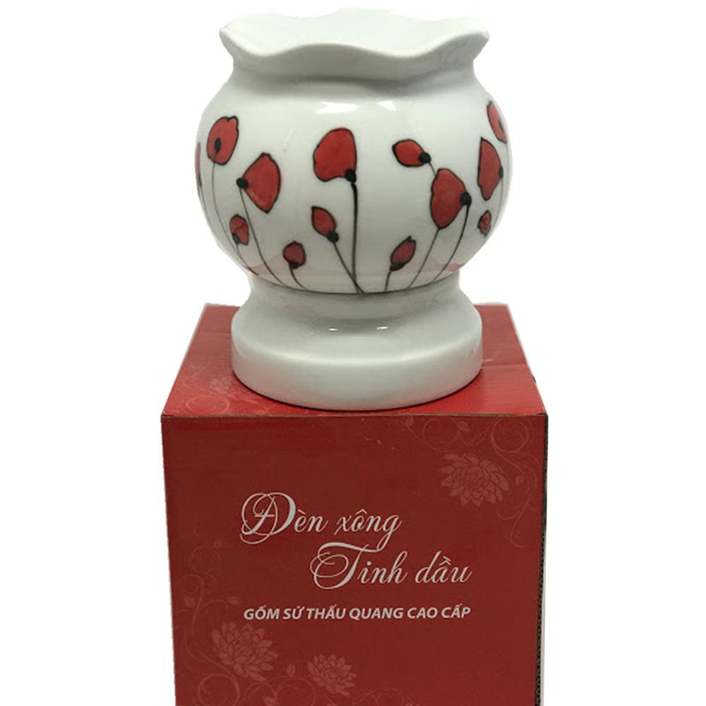 Đèn xông tinh dầu Bát Tràng – Hoa đỏ