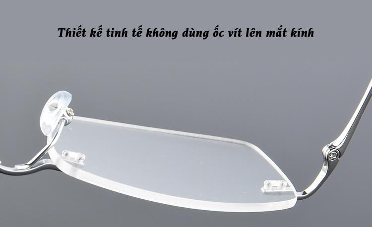 thiết kế tinh tế không dùng ốc vít lên gọng kính titan Kavi A10
