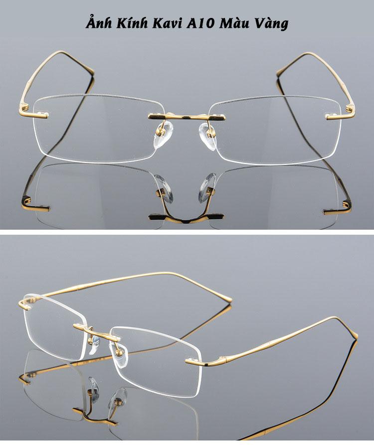 hình ảnh kính không viền chống ánh sáng xanh gọng Titan Kavi A10 vàng