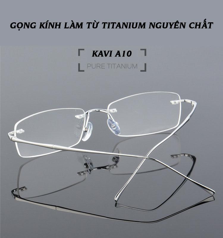 Kính không viền gọng Titan chống ánh sáng xanh Kavi A10