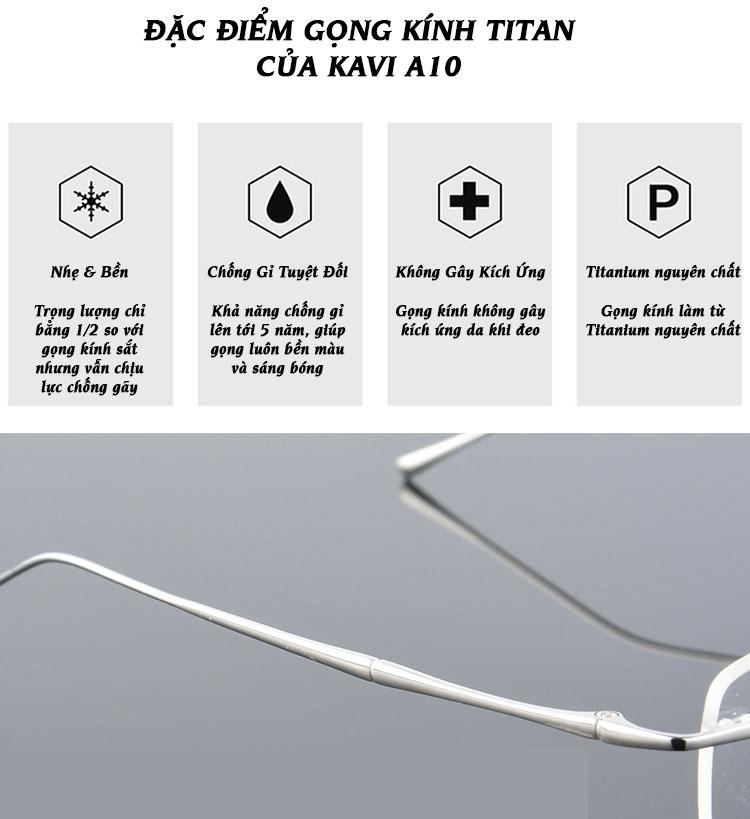 đặc điểm kính chống ánh sáng xanh gọng Titan Kavi A10