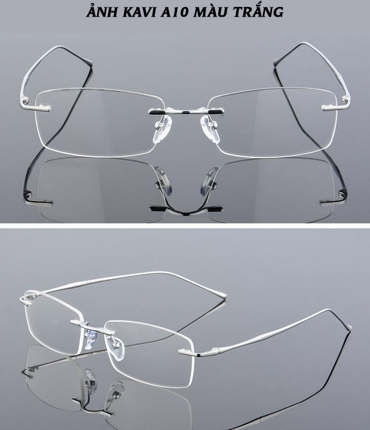hình ảnh kính không viền chống ánh sáng xanh gọng Titanium Kavi A10 trắng