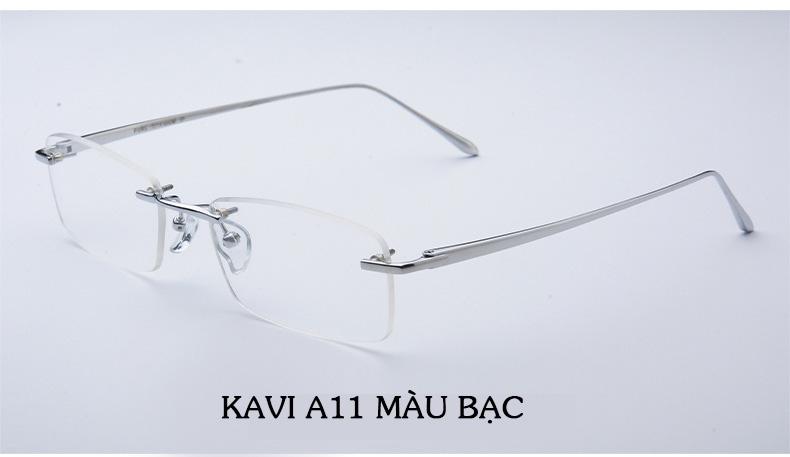 Kính chống ánh sáng xanh gọng Titan Kavi A11 màu bạc