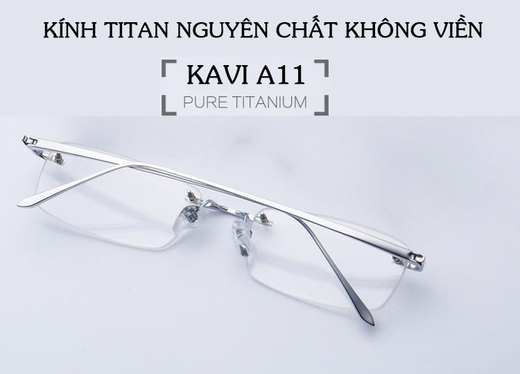 Kính chống ánh sáng xanh gọng Titan không viền Kavi A11