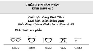 thông tin sản phẩm kính titanium kavi a10