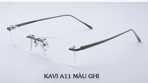 Kính chống ánh sáng xanh không viền gọng Titan Kavi A11 màu ghi
